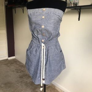 Blue Jean Rope Drawstring Beach Marine Mini Dress